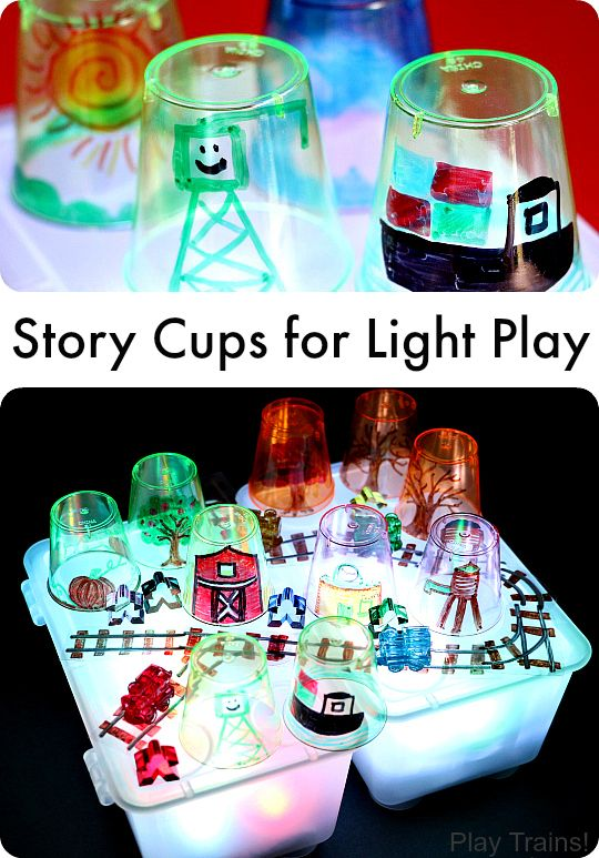 DIY Story Cups for Light Play -- fun for light table storytelling or pretend play from Play Trains!