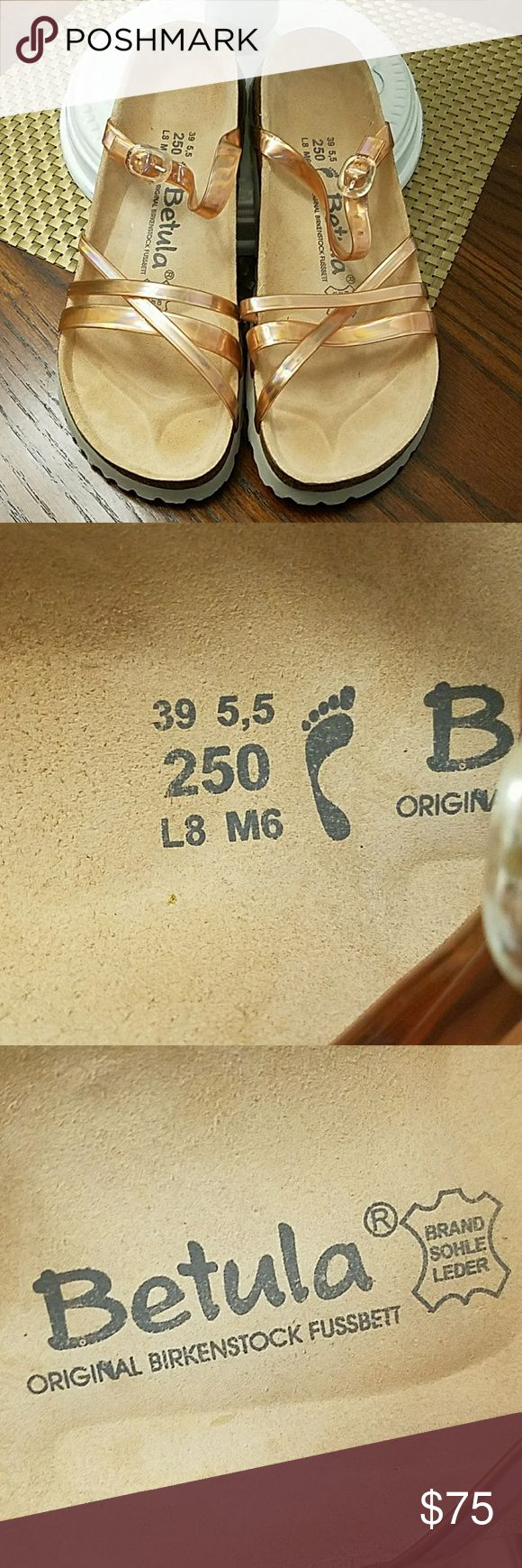 Betula Original Birkenstock Sandals NEW Brand new, no damage.  Ladies 8, men's 6. Rose pink straps. No box. Birkenstock Shoes Sandals