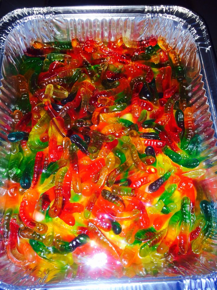 Gummy Worms soaked in Coconut Rum
