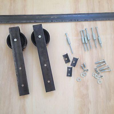 Barn door hardware 8 5 foot track raw steel jesseduncan for 10 foot barn door track