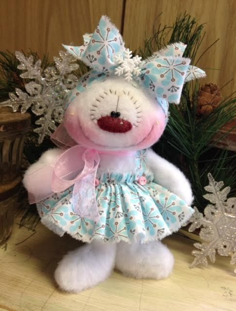 "Primitive HC Holiday Christmas Doll Snowman Snowgirl Snowflake 7.5"" Super Cute! #IsntThatCute #Christmas"