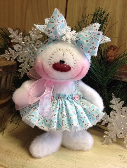 "Primitive HC Holiday Christmas Doll Snowman Snowgirl Snowflake 7.5"" Super Cute! #IsntThatCute #Christmas"
