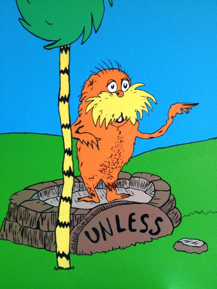 Part Of The Lorax Mural On The Wall In The Babyu0027s Dr. Seuss Room.