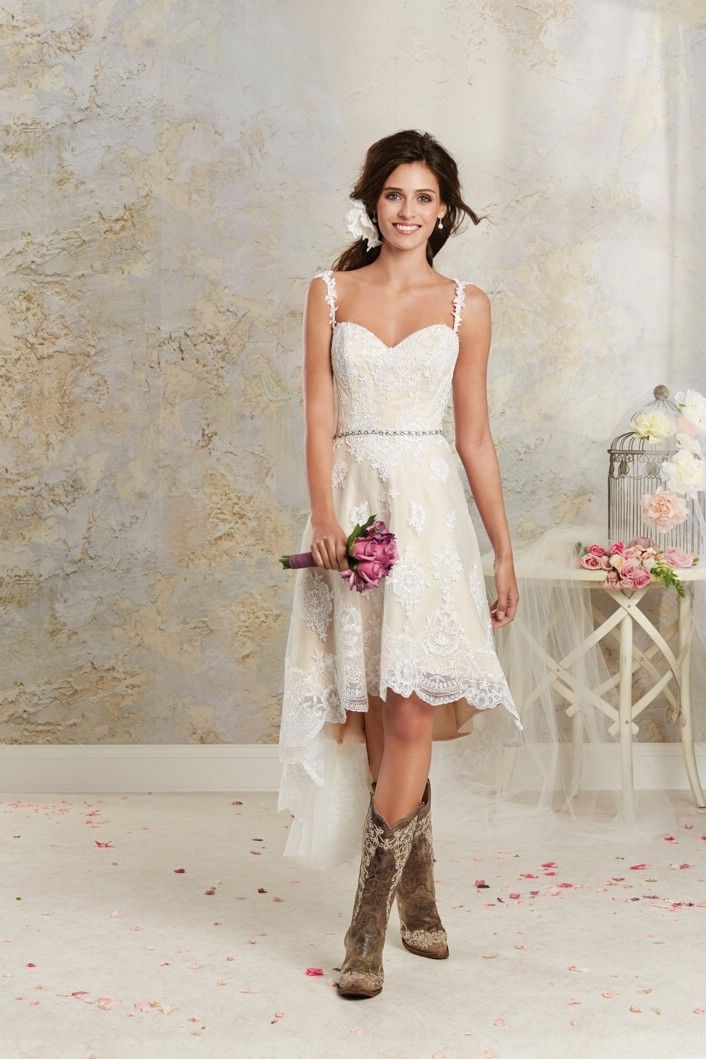 Alfred Angelo 8534NT Short Lace Wedding Dress Great With Boots Ivory Size 8