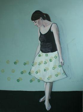 "Saatchi Art Artist Karoline Kroiß; Painting, ""Skirt with flowers"" #art"
