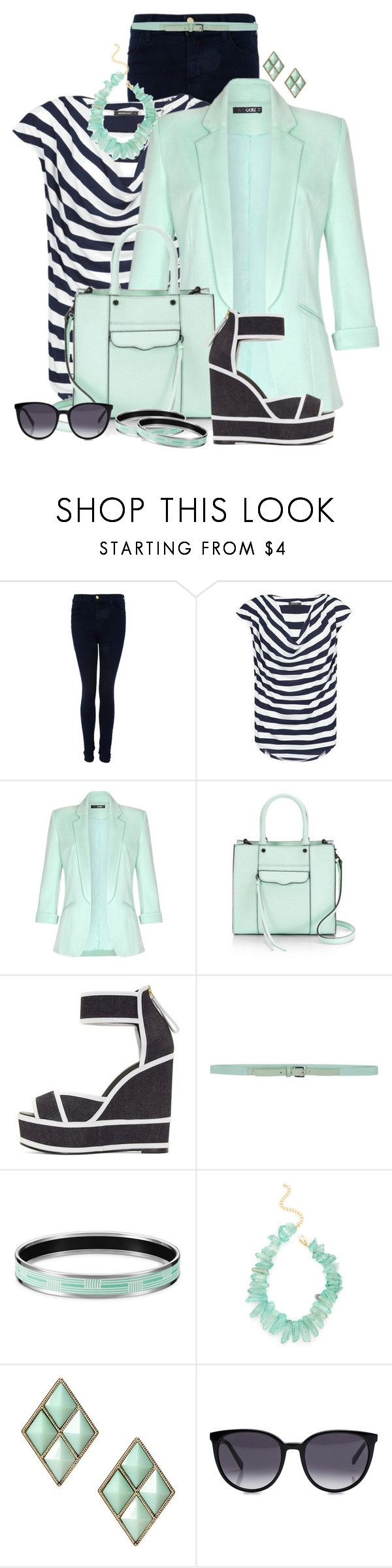 """Navy Stripes and Mint Blazer"" by cathy0402 ❤ liked on Polyvore featuring J Brand, MANGO, Quiz, Pierre Hardy, malo, Kenneth Jay Lane and CÉLINE"