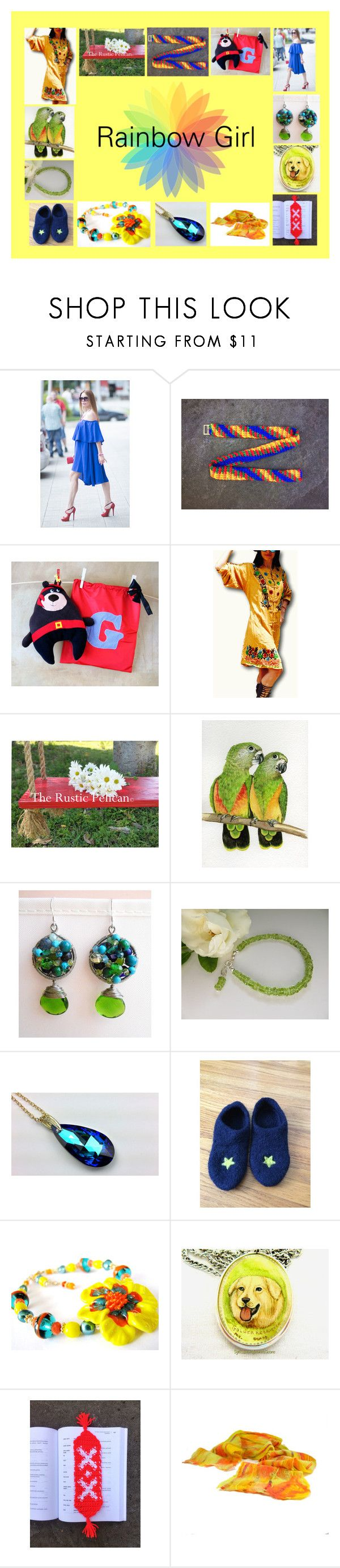 """""""Rainbow Girl: Handmade Gifts for Her"""" by paulinemcewen ❤ liked on Polyvore featuring rustic"""