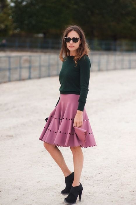 forest + mauve: Sweater, Skirts, Style Inspiration, Clothes, Street Style, Fashion Week, Outfit
