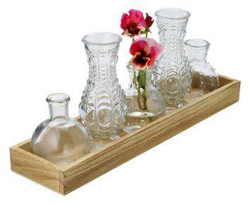 Vázy na podnose GISLE sklo 5ks/bal. | JYSK