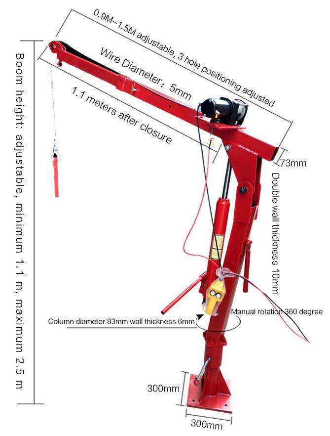 500kg 360 Swivel Winch Davit Crane Manufacturer Truck Cranes Crane Lift Design