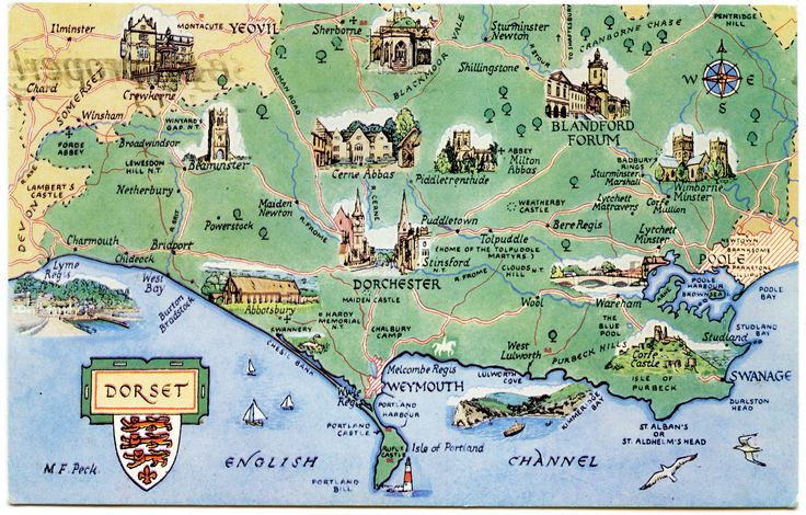 Postcard map of Dorset by Alwyn Ladell on Flickr