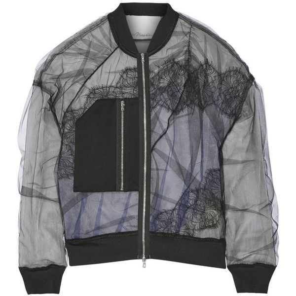 3.1 Phillip Lim Satin and lace-paneled tulle bomber jacket ($875) ❤ liked on Polyvore featuring outerwear, jackets, bomber jacket, coats, black, black sheer jacket, flight bomber jacket, zipper jacket and black zip jacket