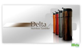 Delta steel tumbler Size: 23.2 x 6.5 x 6.5cm Capacity: 400ml. Color: Brown, Gold, Grey, Red Elegant design, very exclusive, fitting to put on your car, ideal for your executive events souvenirs.