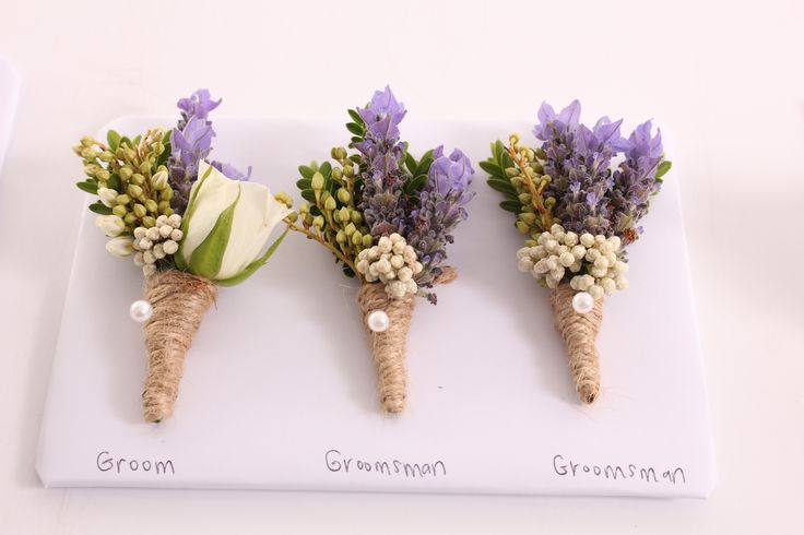 Lavender and twine buttonholes - Rustic wedding flowers made by Amy's Flowers