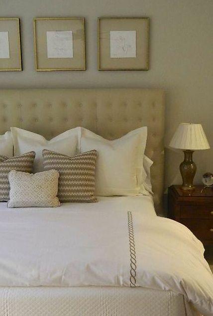 SallyL: Phoebe Howard - Monochromatic bedroom in shades of caramel and mocha. Tufted headboard, ...