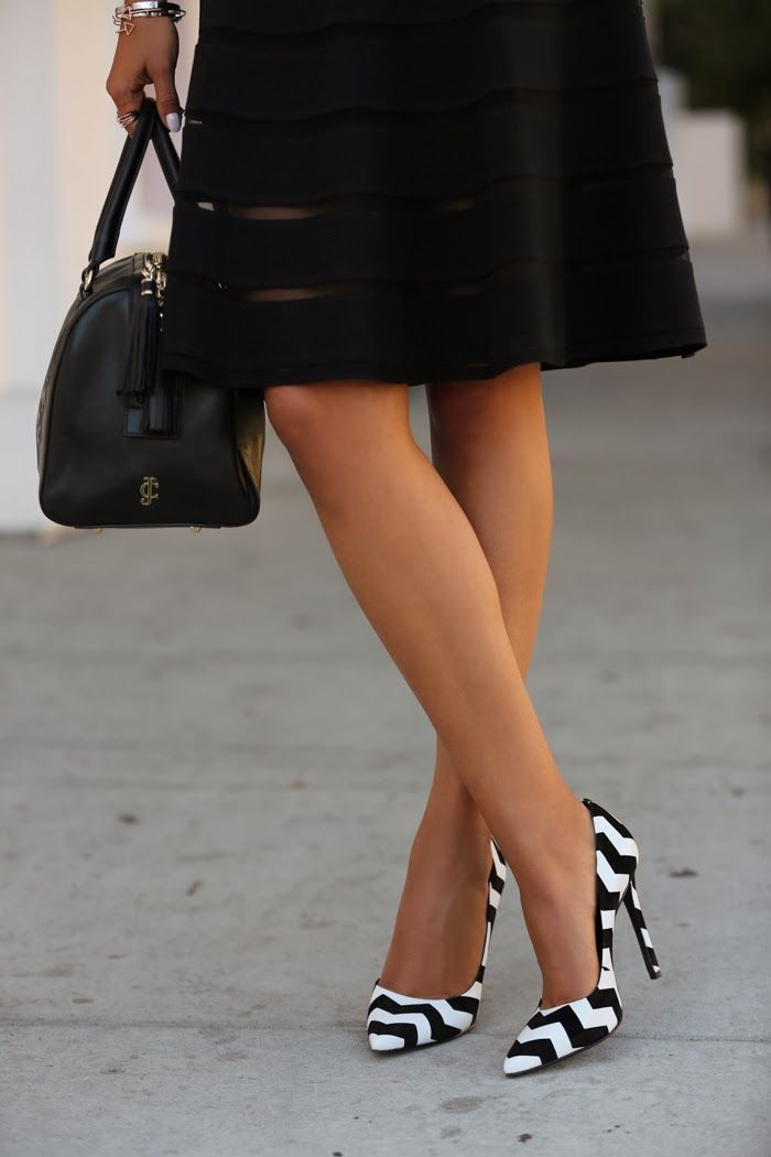 Black & White Chevron Print Heels -- 20 Trendy Shoe Styles On The Street - Style Estate -: