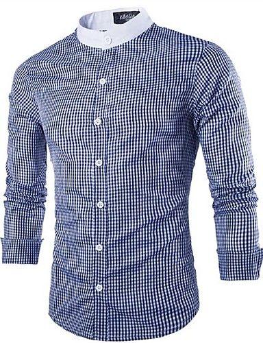 Camisa De los hombres A Cuadros Casual-Algodón-Manga Larga-Negro / Azul 4528807 2017 – $53.981