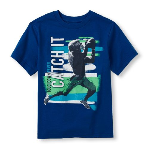 s Boys Short Sleeve 'Catch It' Football Graphic Tee - Blue T-Shirt - The Children's Place