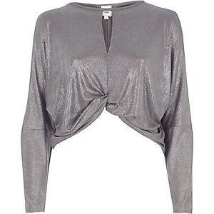 Silver metallic twist front batwing top