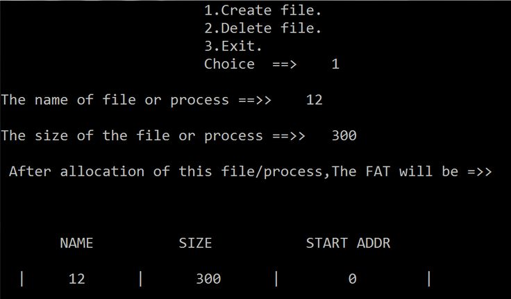 C code for File Allocation Table(FAT) | Let's Spread the Technology