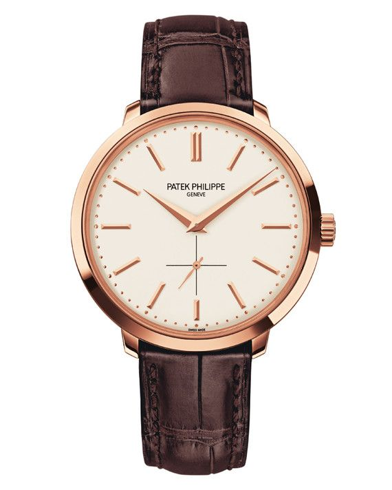 "Patek Philippe's ""Calatrava"" mixes a traditional round shape and an alligator band with a contemporary rose-gold setting.  The Details: Patek Philippe ""Calatrava"" Watch, price upon request, patek.com."