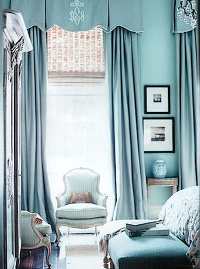 blue room: Decor, Blue Rooms, Curtains, Color, Tiffany Blue, Blue Bedrooms, Window Treatments, Monograms, Valances