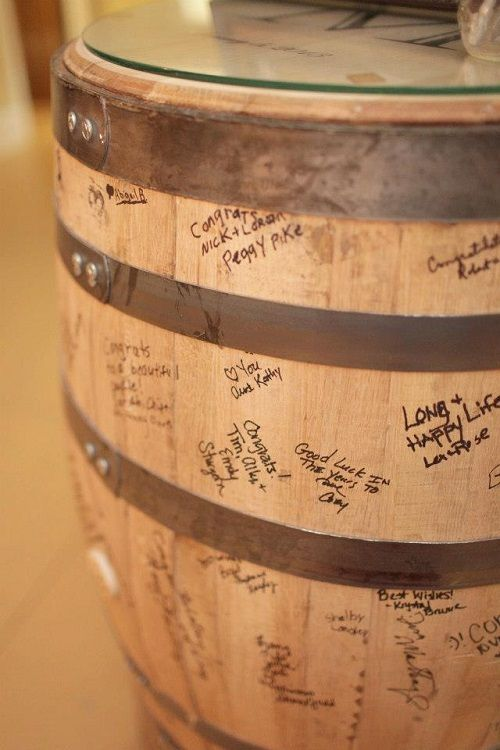 "Guests signed a bourbon barrel. ""Winter Wedding: Mad for Plaid"", Wedding Wednesdays! StyleBlueprint Louisville"