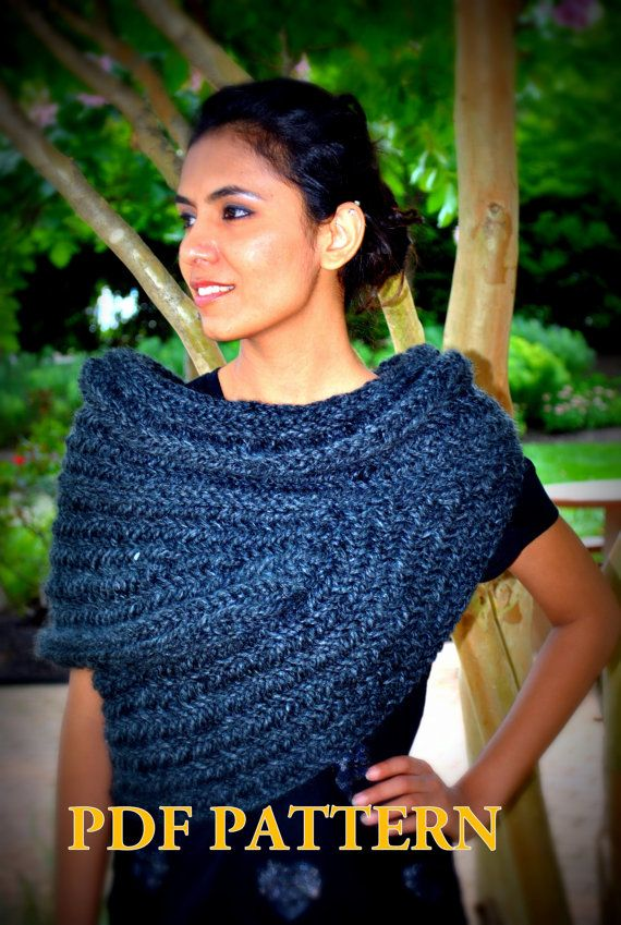 Huntress Cowl Capelet Scarf: PDF Knitting Pattern. by KYSAA