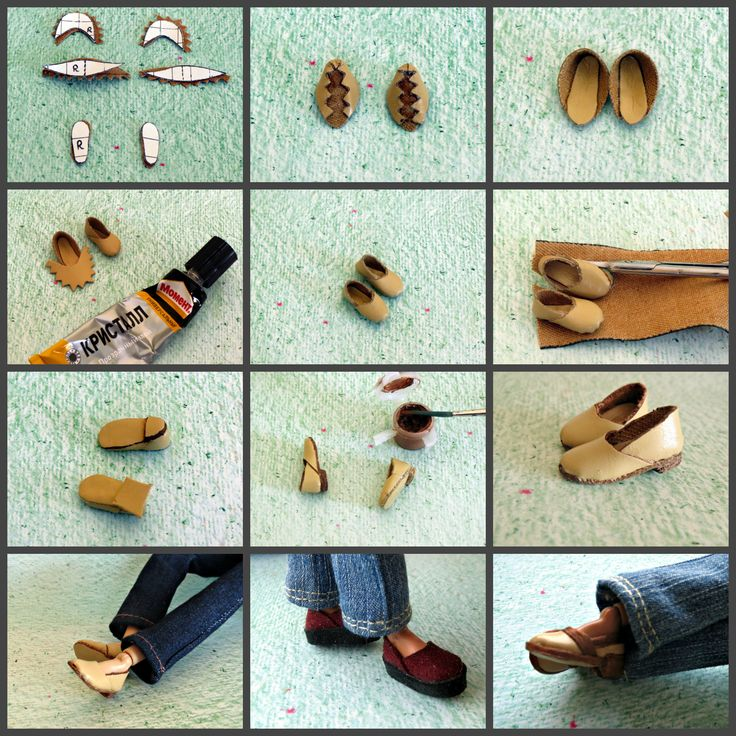 How to make shoes for Barbie {with flat foot} Doll