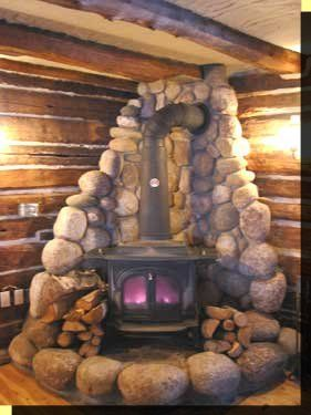 Great for a wood burning stove for heat!  Love the stone around it.