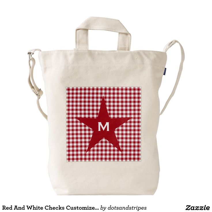 Red And White Checks Personalized Monogram Star Fashionable Duck Tote Bag