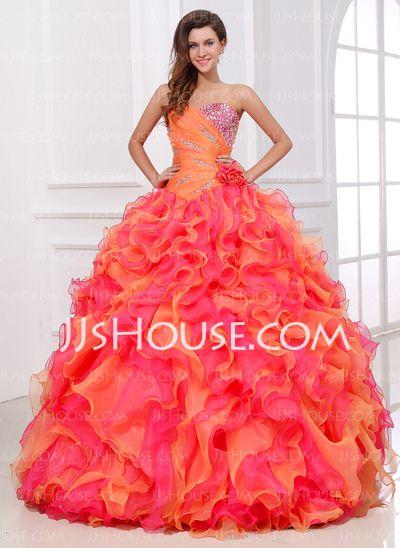 Quinceanera Dresses - $268.49 - Ball-Gown Sweetheart Floor-Length Organza Quinceanera . LOVE IT!!!!