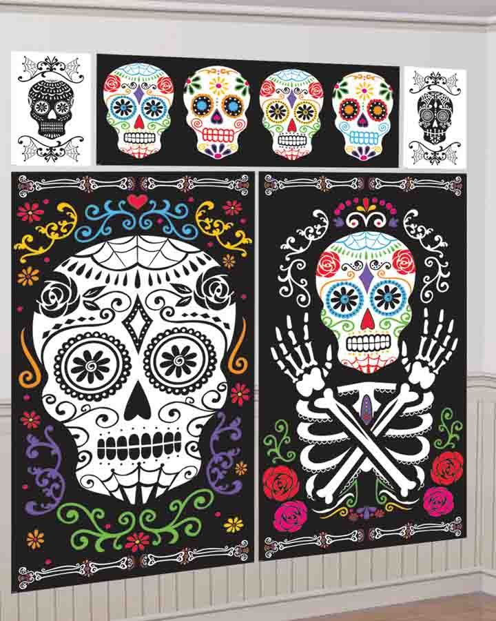 day of the dead scene setter decorating kit party supplies - Day Of The Dead Halloween Decorations