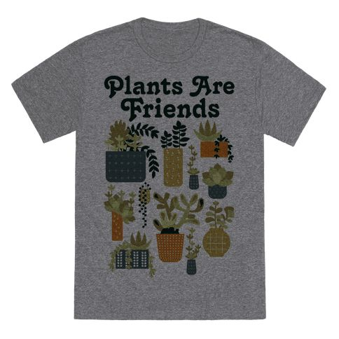 "Plants Are Friends Retro - This Plants Are Friends retro inspired shirt is perfect for anyone who is a fan of houseplants and 1970's graphic design. This succulent shirt features an illustration of a variety of succulents in different patterned pots along with the phrase ""Plants Are Friends."""