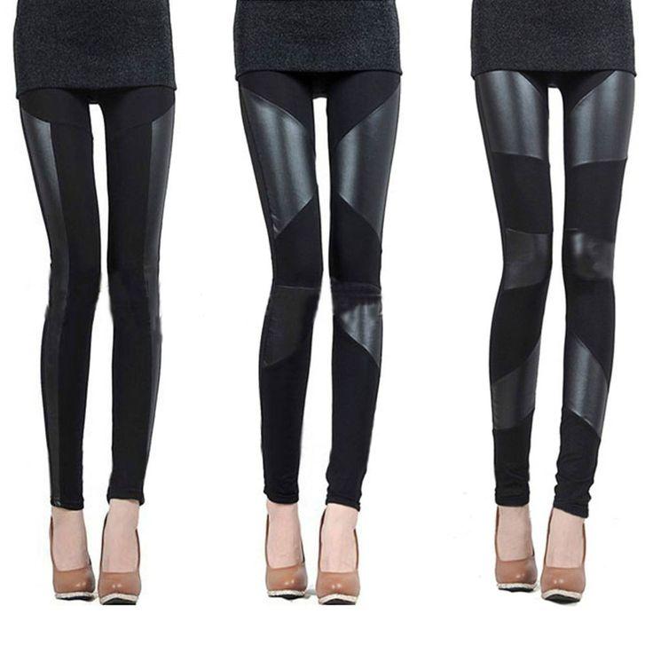 Leggings Damen leggins PU Leder Kunstleder Look Optik legging Neu Gr.S-M-L-XL in Kleidung & Accessoires, Damenmode, Leggings | eBay