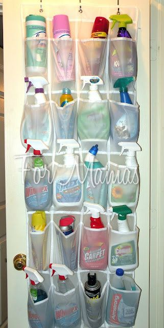 """Great idea to hang on basement storage door for """"back stock"""" supplies!     great for kids bathroom door too - brushes, straighter, hair care, etc."""