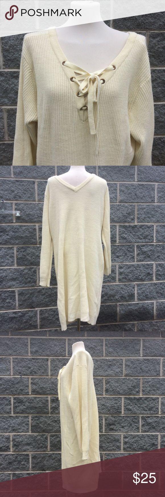 "Ashley Stewart Cream Lace Neck Sweater Dress 26 Ashley Stewart  Cream Sweater Dress  Long Sleeve  Lace Neck  Womens 26  Measurements when laid flat:  Shoulders: 18.5"" Chest: 21.5"" Waist: 23"" Length: 37"" Sleeve (shoulder to cuff): 23.5"" Ashley Stewart Dresses Midi"