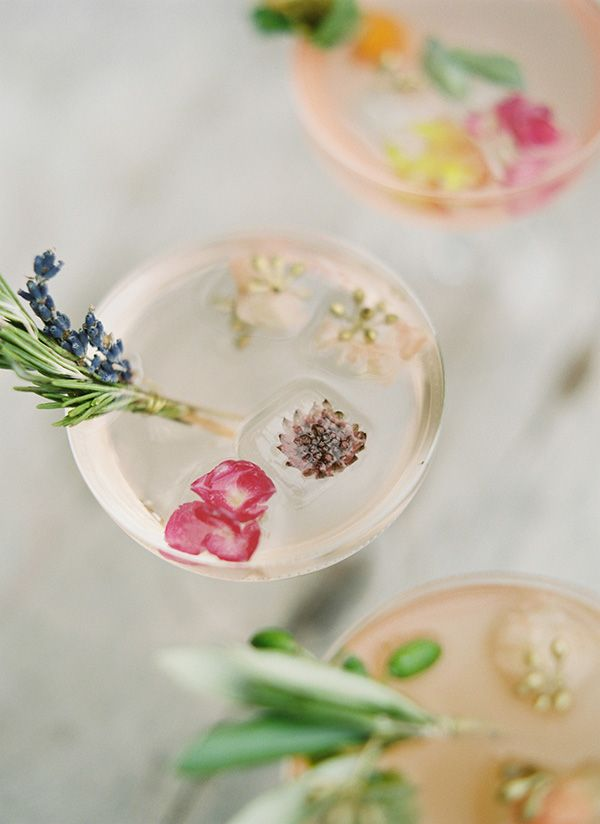 cocktails with flower petals