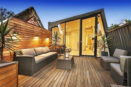 Fascinating Modern Wooden Deck Roof Terrace Design Ideas with Rattan Chairs and Pendant Lighting