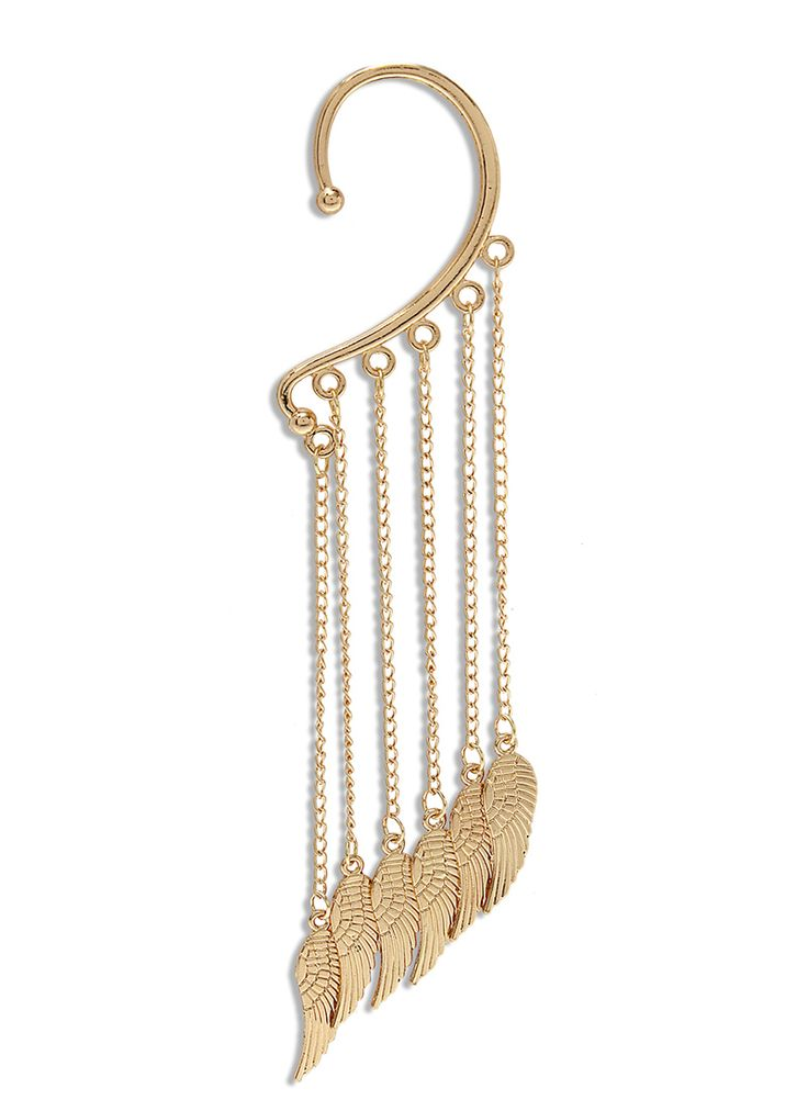 Gold Multilayered Dangler Ear Cuffs