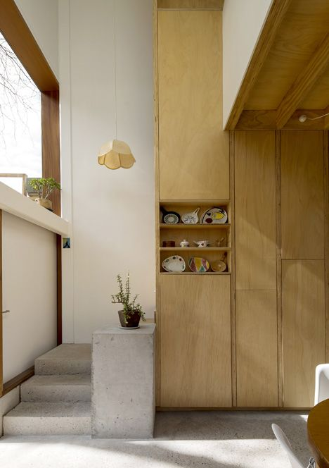Three by Two House by Panovscott | concrete, wooden joinery + old hanging lamp shade