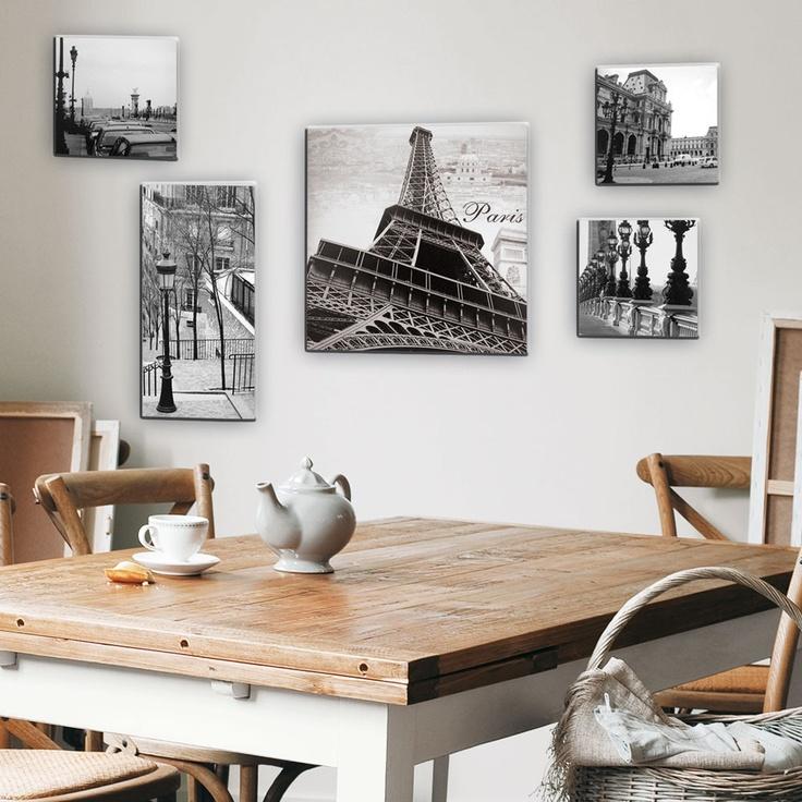 Set di 5 tele foto Parigi modello piccolo - 1 tela grande : 40 x 40 cm  3 tele piccole :19,5 x 19,5 cm  1 tela rettangolare 19,5 x 40 cm  19.90€
