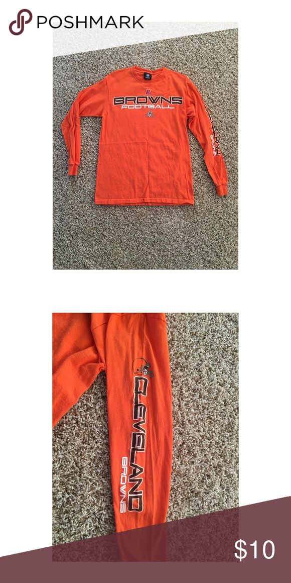 orange long sleeve NFL Cleveland Browns tee Long sleeve crew neck tee with Cleveland Browns logo on the front and down the left sleeve. Back is plain. NFL Team Apparel Shirts Tees - Long Sleeve