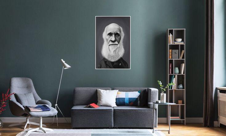 Charles Darwin as Premium Poster by Rob Snow | Creative | JUNIQE art | decor | wall art | inspiration | caricature | home decor | idea | humor | gifts
