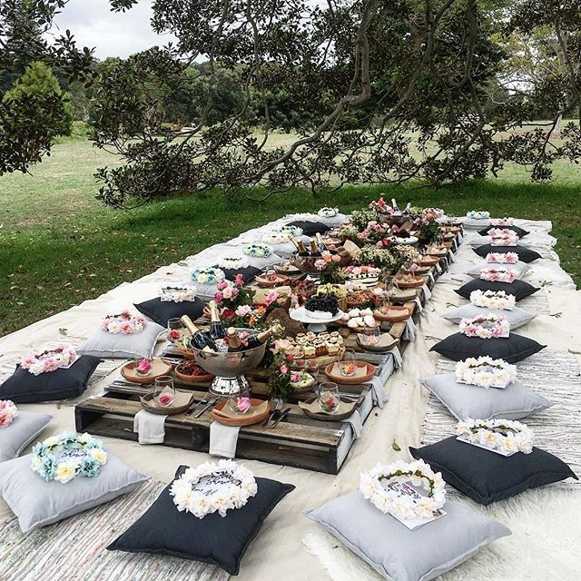 "Picnic in the park for a group of x30 ladies celebrating a beloved freind getting married! When I was asked to do this job I said ""one can never have enough flowers or cake for that mater ‍""   #flowerpower #sarahglovercatering #wedding #picnic #eatoutside #outdoorlife #sistahood"