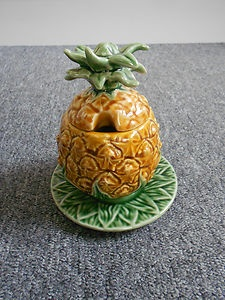 Bordallo Pinheiro of Portugal Majolica Pineapple Shape Jam / Preserve Pot | eBay