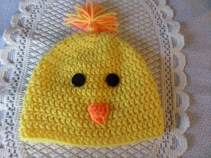 spring chicken hat, yellow beanie hat, toddler beanie, holiday hat, 2 to 5 years, hat with tassel, black button eyes, casual beanie, by MaddisonsRainbow on Etsy