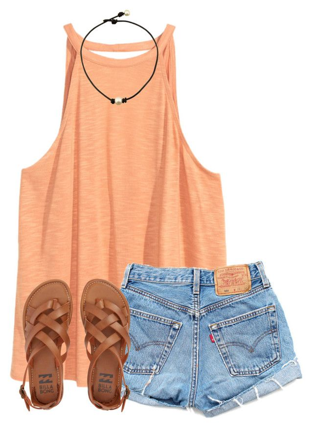 """summer is officially here!!"" by ponyboysgirlfriend ❤ liked on Polyvore featuring Levi's and Billabong"