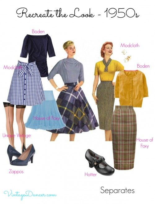 Choose a pencil skirt or a full skirt with a nipped in waist for a smart 1950s style