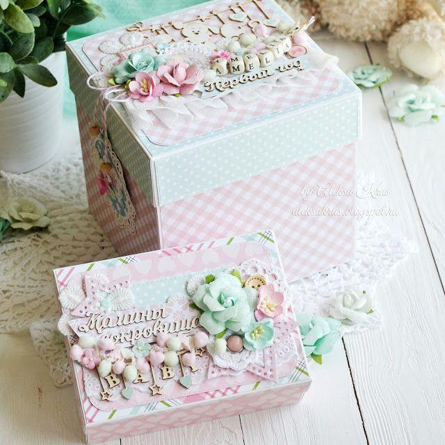 Handmade by Aleksa Kras: Мамины сокровища и коробочка с карточками на первый год для малышки
